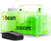 Røgmaskine 500W i transparent kabinet med RGB LED'er der lyser flot i forskellige farver, S500PC