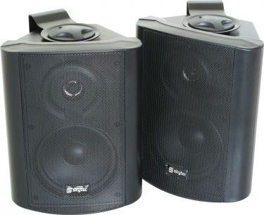 """Kompakt højttalersæt med vægmonteringsbøjle / 8 Ohm / 5"""" bas 100W, sort"""