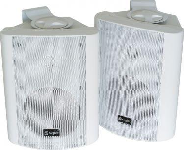 """Kompakt højttalersæt med vægmonteringsbøjle / 8 Ohm / 5"""" bas 100W, hvid"""