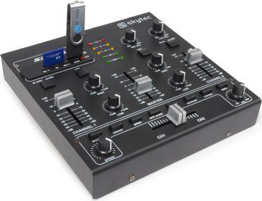 Dj Mixer STM-2250 4-kanals med lydeffekter og USB/SD/MP3-afspiller