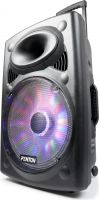 "Transportabel højtaler 15"" bas 350W - MP3 / USB / Bluetooth / 2x Trådløs mikrofon og LED lys!"