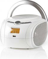 Nedis Bærbart lydanlegg | 9 W | Bluetooth® | CD-Spiller/FM-Radio/USB/AUX | Hvit, SPBB100WT