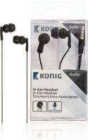 König Headset In-ear 3.5 mm Indbygget mikrofon 1.2 m Sort, CSHSIER100BL