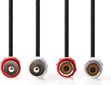 Nedis Stereo Audio Cable   2x RCA Male - 2x RCA Female   5.0 m   Black, CAGP24205BK50