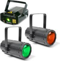 Lyspakke med 2 stk. Moon Flower Lyseffekt og Apollo Lasereffekt rød+grøn