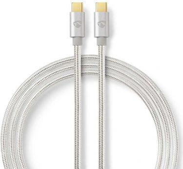 Nedis USB 2.0-Kabel   Type-C, hann - Type-C, hann   3,0 mm   Aluminium, CCTB60700AL30