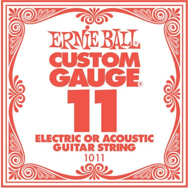 Ernie Ball EB-1011, Single .011 Plain Steel string for Eletric or
