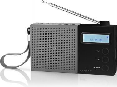 Nedis Digital DAB+-radio   4.5 W   FM   Ur og alarm   Grå/sort, RDDB2210BK