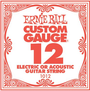 Ernie Ball EB-1012, Single .012 Plain Steel string for Eletric or