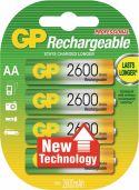 GP Oppladbart NiMH Batteri AA 1.2 V 2600 mAh 4-Blister, 120270AAHCC4