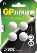 GP Litium Knappecellebatteri CR2032 3 V-Blister Kort, CR2032/C4
