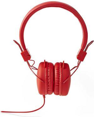 Nedis Hovedtelefoner med kabel | On-ear | Foldbar | 1,2 m rundt kabel | Rød, HPWD1100RD