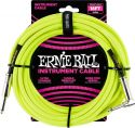 Ernie Ball EB-6080 Instrument Cable, Superior braided cable, Neon Y