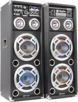 """Aktivt højttalersæt KA-28 med LED lys / 2x8"""" bas 1200W / karaoke-funktion / USB/SD/MP3-afspiller"""