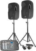"""Højttalere, Vexus PSS302 komplet 2x10"""" lydsystem med mixer USB/MP3/BT - perfekt til fx gymnastikopvisninger mm."""