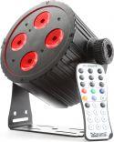 BeamZ BAC404 Aluminium LED Spot 4x18W 6-i-1 LED'er - Helt lydløs spot uden blæser, sort