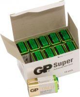 """GP Super Alkaline """"godt kvalitets batteri"""" 9V / E batteri, pakke med 10 stk."""