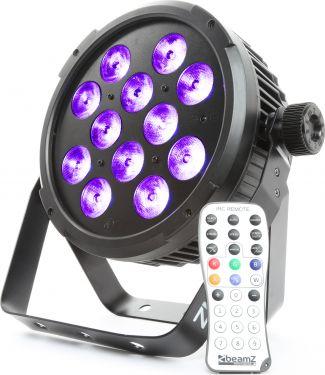 BeamZ BT300 Flat PAR 12x 12W 6-i-1 LED'er med RGBAW-UV farvemix, DMX, Musikstyring og Fjernbetjening