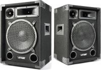 """Højttaler i populært disco-look 3-vejs med 10"""" bas / 500W (pris er for 2 højttalere)"""