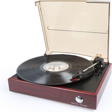 Pladespiller 33/45 RPM med USB og optagefunktion til MP3 via PC