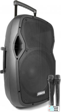 AP1500PA Transportabelt lydanlæg, perfekt til festival eller karaoke. Inkl. 2 trådløse mikrofoner.