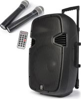 "Mobilt lydanlæg SPJ-PA912 ABS / 12"" bas 500W USB/SD-input inkl. 2 trådløse mikrofoner"