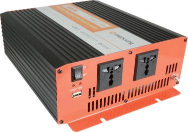 """Inverter """"soft start"""" fra 24V til 230V / 1500W, modificeret sinus (kan ikke bruges til bærbar pc)"""