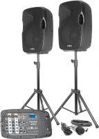 "Vexus PSS302 komplet 2x10"" lydsystem med mixer USB/MP3/BT - perfekt til fx gymnastikopvisninger mm."