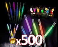 Knæklys-sugerør 500 stk. / 21cm. i blandet farver