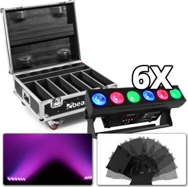 BeamZ BBB612 - Uplight LED Bar, 6 stk i Flightcase med oplader