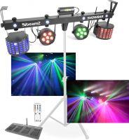 MEGA Lysshow-Bar / 2x Parlamper, 2x Flowereffekt, 4x Stroboskop og Laser / Musikstyring & Fjernbetj.
