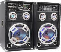 """Aktivt højttalersæt KA-12 med LED lys / 12"""" bas 1200W / karaoke-funktion / USB/SD/MP3-afspiller"""