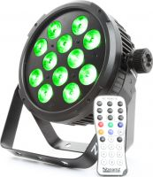 BeamZ BT310 Flat PAR 12x 8W 6-i-1 LED'er med RGBA farvemix, DMX, Musikstyring og Fjernbetjening