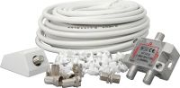 Antenne kabelsæt med 2-vejs fordeler, 15m coax kabel, 7 stik og 50 kabelklips
