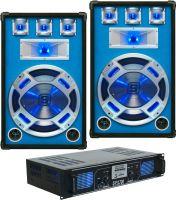 """Højttalersæt 15"""" bas 800W inkl. forstærker med 3 input og Bluetooth"""