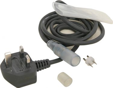 Rope light power cable with plastic sleeve and end cap (EU version)
