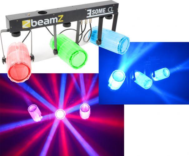 """3-Some LED lyssæt med 3 lyseffekter i 1 """"super effekt med lysende lampehuse"""" med musikstyring"""