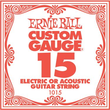 Ernie Ball EB-1015, Single .015 Plain Steel string for Eletric or