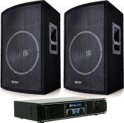 "Højttalersystem Pro 800Watt / 15"" bas med forstærker"