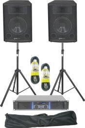 """Lydanlæg 12"""" bas/500W, komplet med forstærker, stativer og kabler"""