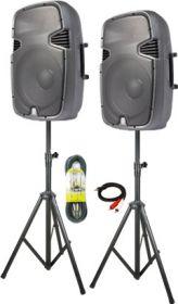 Komplet sæt aktive højttalere 2x600Watt med 2 stativer og kabler
