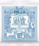 Musikinstrumenter, Ernie Ball EB-2403, Clear & Silver nylon strings. Medium tension