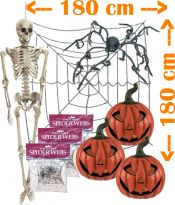 Halloween MEGA pakke 1x Skelet, 1x Mega Edderkop med Spindelvæv, 3x Lysende Græskar!