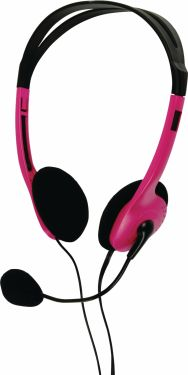 basicXL Headset On-Ear 2x 3.5 mm Indbygget mikrofon 2.0 m Pink, BXL-HEADSET1PI