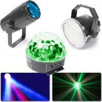 Lyspakke med Moon Flower Lyseffekt + Disco Strobolys + Flot Starball Lyseffekt