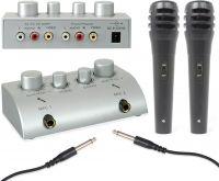 Karaoke Mikrofon Mixer / 2-kanals med tone og rumklangsregulering - inkl. 2 mikrofoner