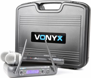 WM73 2-Channel UHF Wireless Microphone System with Handheld Microphones and Display
