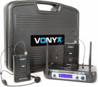 WM512H 2-Channel VHF Wireless Microphone System with Bodypacks and Display