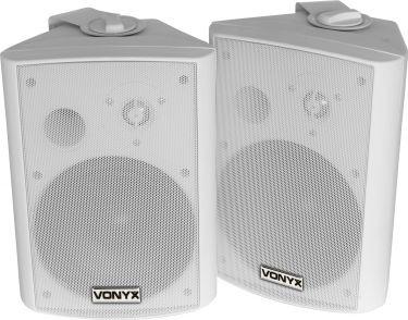 """Kompakt højttalersæt med vægmonteringsbøjle / 8 Ohm / 6.5"""" bas 120W, hvid"""