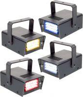 Mini LED stroboskoper - sæt med 4 stk. i Rød, Gul, Blå og Hvid